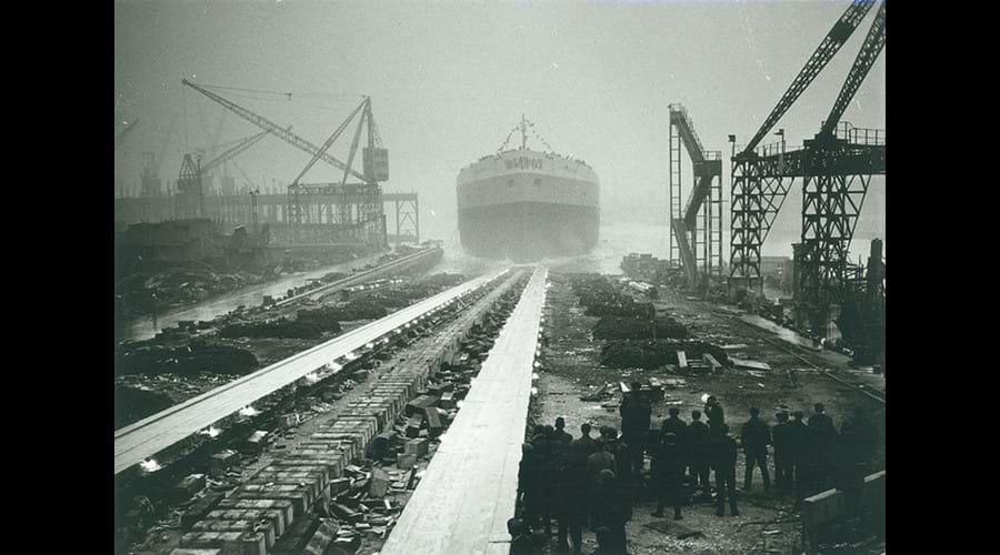 Launch of the tanker 'Borgsten', built by J.L. Thompson & Sons Ltd, North Sands, 1 November 1963 (TWAM ref. DS.JLT/4/PH/1/709/3/3).