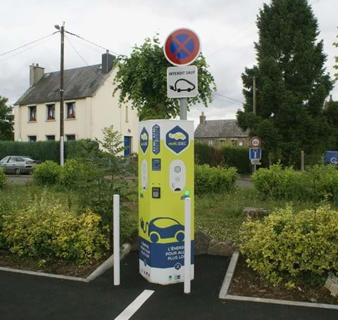 EV charging point in Saint Pierre la Vieille, the closest charging point to Eco-Gites of Lenault, Normandy, France