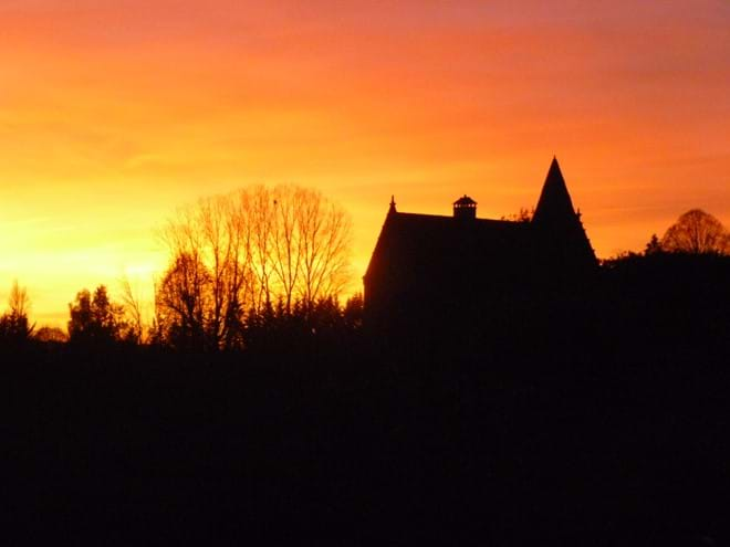 Chateau at sunset over sarlat