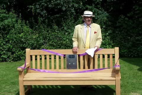 Bruce Munro launching the Saffron Walden Listening Bench on 30 June 2016