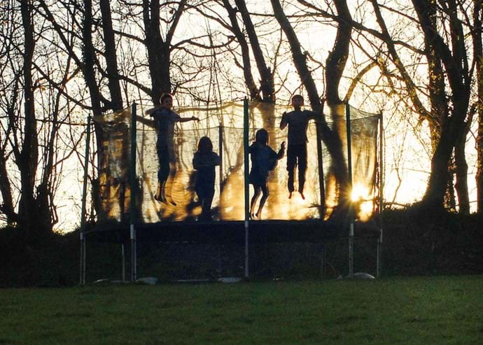 Trampoline at sunset.