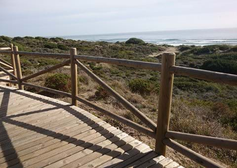 Cabopino boardwalk over the sand dunes