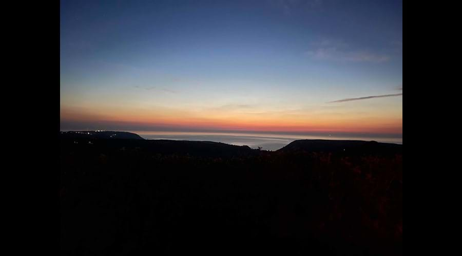 Sunset view from Trysor Holiday Cottage