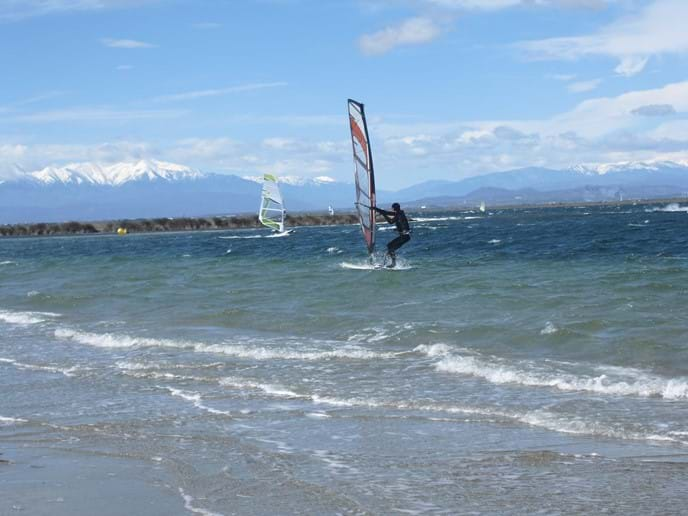 Windsurfing in April of the nearby lagoon