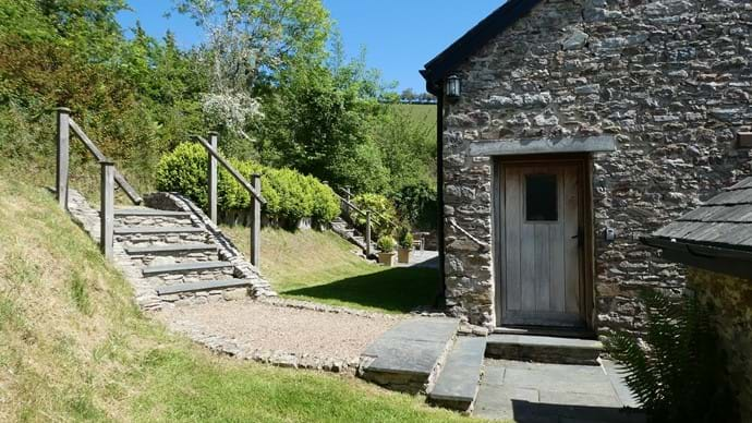 Steps down and entrance to Cider House