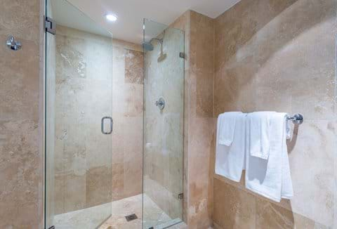 """""""Luxurious bathroom with shower and bath finished in Travertine"""""""