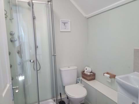 The upstairs shower cabin has monsoon head and body jets