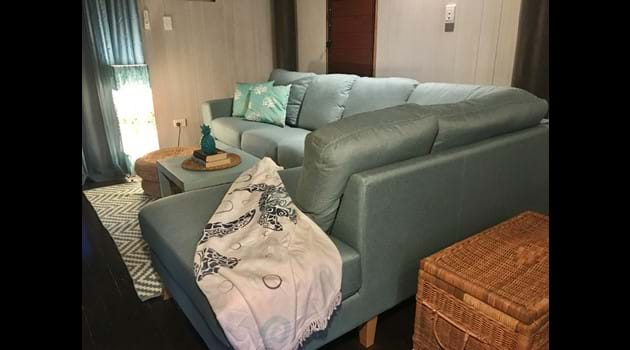 Chaise lounge for relaxing with a book or watching DVDs from our extensive library