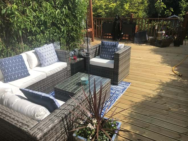 Outside lounge on the deck