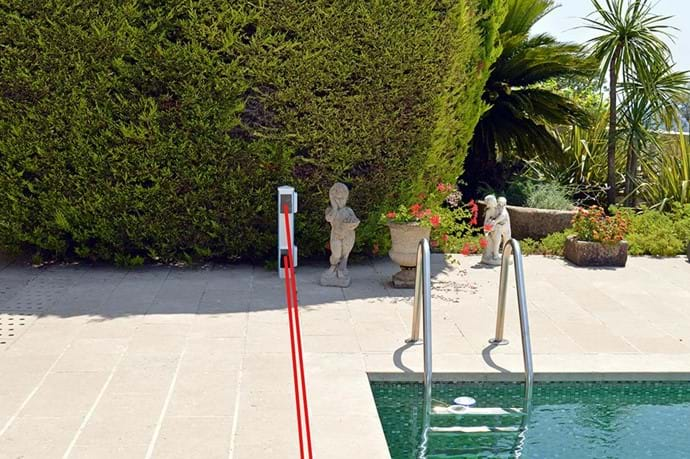 July 2015 - Pool Siren Alarm, activated by twin sensor beams.  This new system replaces the old