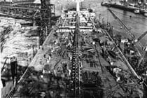 View of the tanker Borgsten being built in 1964
