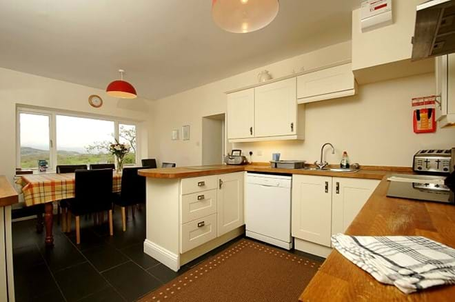 kitchen in Ty Mawr family self catering house with stunning views near Snowdonia