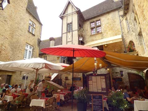 Have lunch al fresco in a medieval courtyard