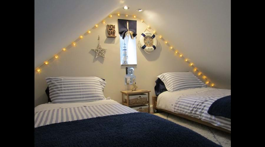 Twin beds on bed deck - can be configured as a double on request