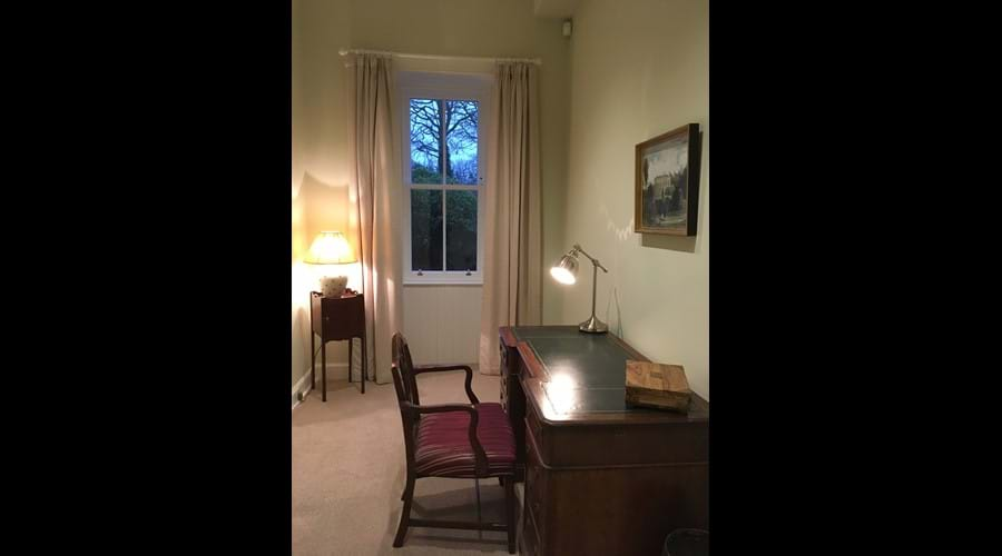 For those who need to work while at the House there is a private study with a beautiful Victorian desk