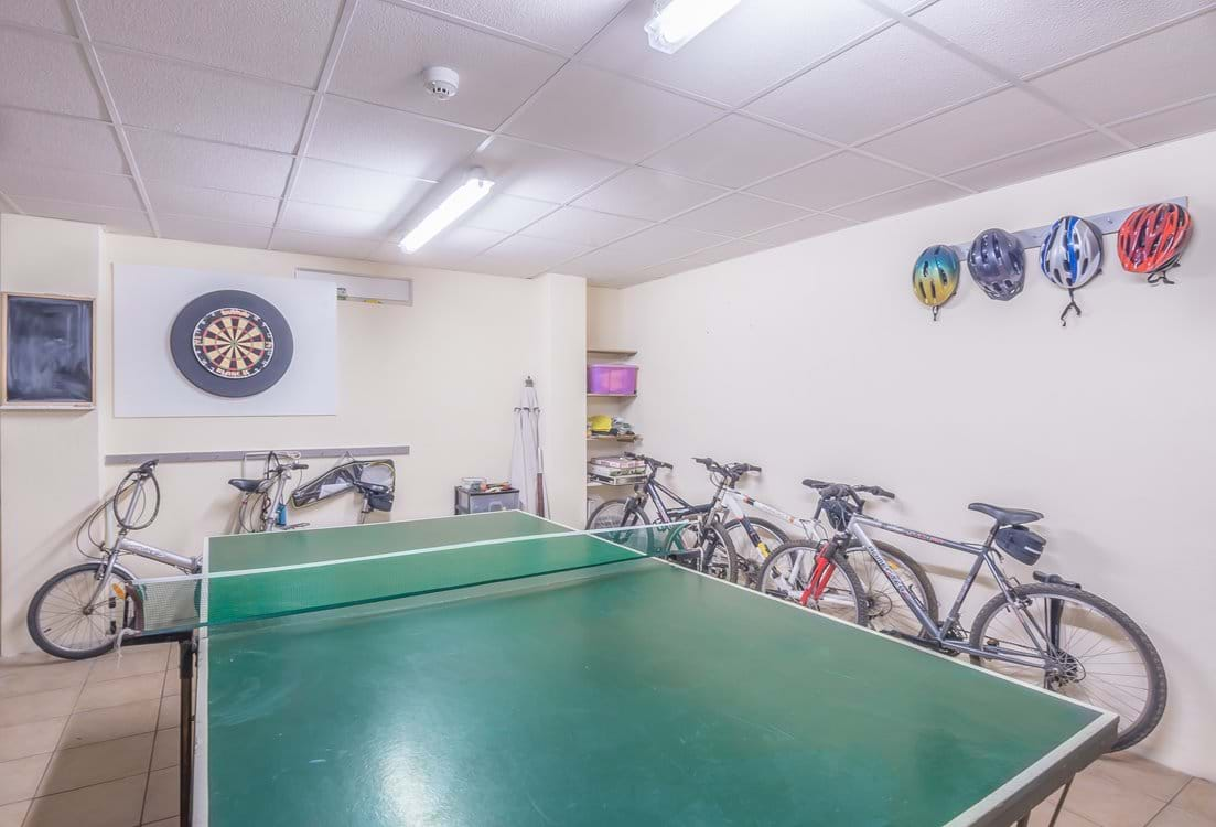 Games room includes a choice of SEVEN free bikes, great for touring around