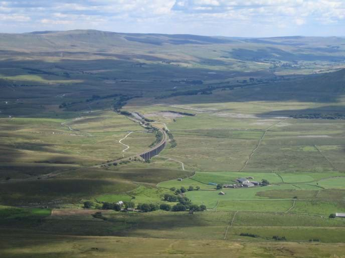 Ribblehead viaduct from the top of Whernside