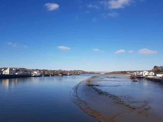 View of the river Torridge from Bideford Long Bridge