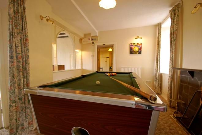 pool table in the games room of this rural self catering holiday let near Snowdonia