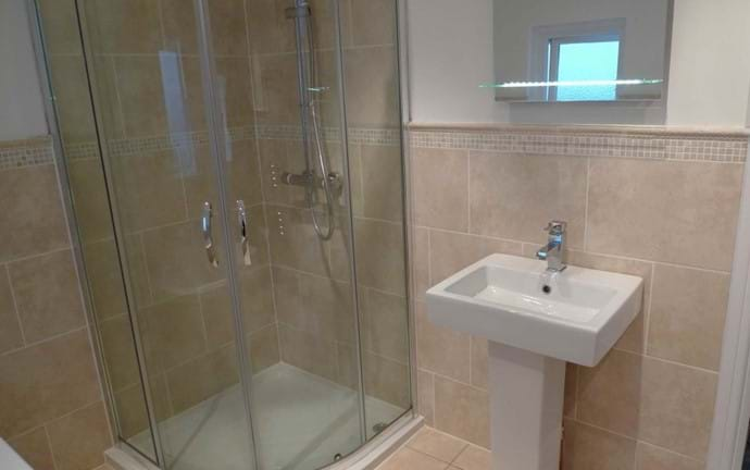 Family Bathroom (1st Floor) with separate shower, bath, washbasin and wc, demister mirror with shaver point