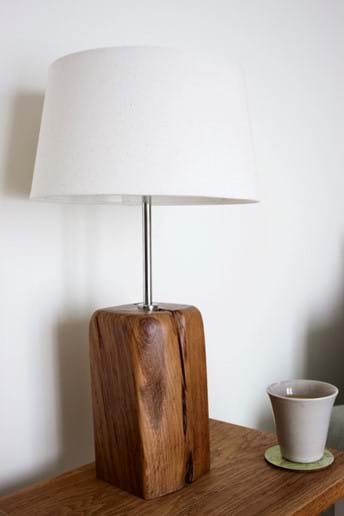 Lamp made of New Forest wood by local workshop