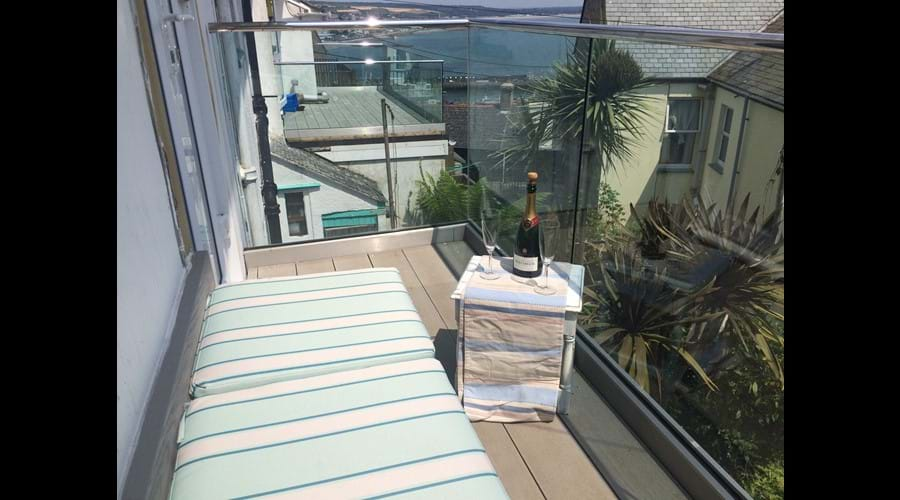 Relax, unwind on the sunny, sea-view first floor balcony