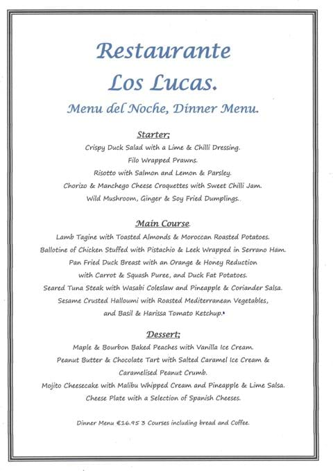 Our New Menu del Noche Evening Menu which we will start serving from Friday 30th July 2021.