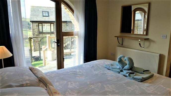 King size room with French doors onto the terrace