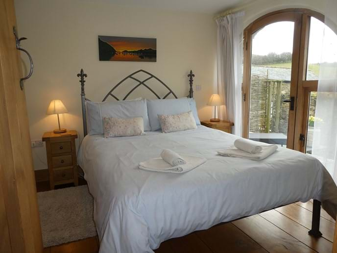 King Size Bedroom with views across the valley