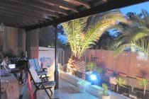 Patio nicely lit with sonos music system