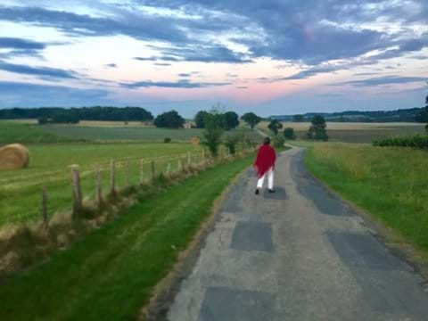A leisurely walk down our road.