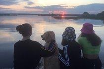 Enjoying the sunset down at the lake