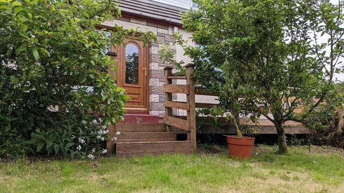 Apple trees at the front door