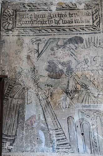 Jacobian wall painting showing Biblical character in Jacobian dress