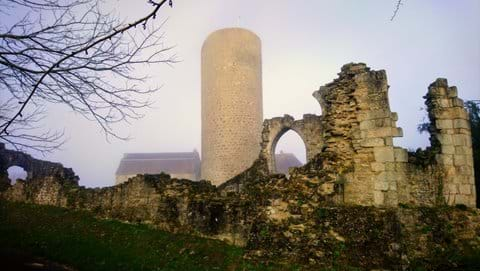 Tower of Chateau Chalus Chabrol in slightly misty light during the Winter