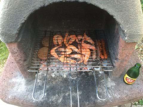 Prawns on the BBQ at Mimarmel