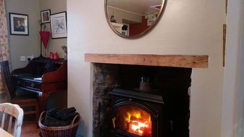 Cosy dining room with a Nestor martin stove. Forget about starter packs, here you will find unlimited Turf, timber and kindling all provided free