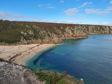 Porthcurno a short drive away