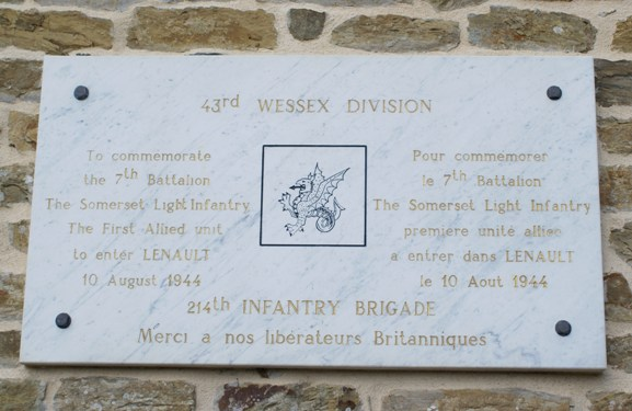 WWII Memorial Plaque in Lenault, Normandy, France