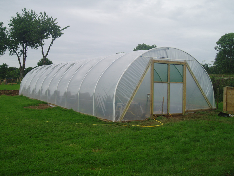 New polytunnel at Eco-Gites of Lenault, Normandy, France