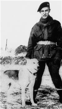 Private Emile Corteil with  his paratroop dog, 'Glen'