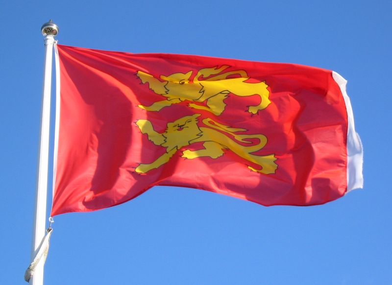 The 2 Lions flag of Normandy