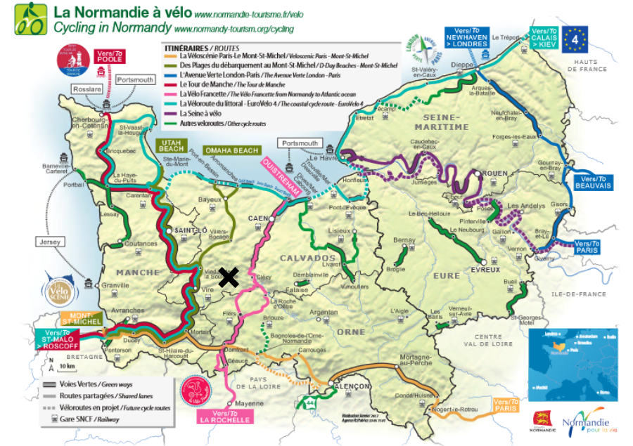 Major Cycling routes in Normandy - Grands itinéraires cyclables en Normandie