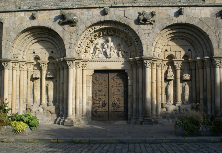 Carved entrance to St Malo's Church, Dinan