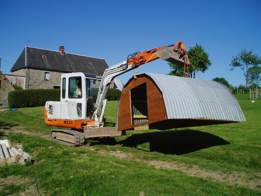A new pig pen at Eco-Gites of Lenault, a 5 person gite in Normandy.