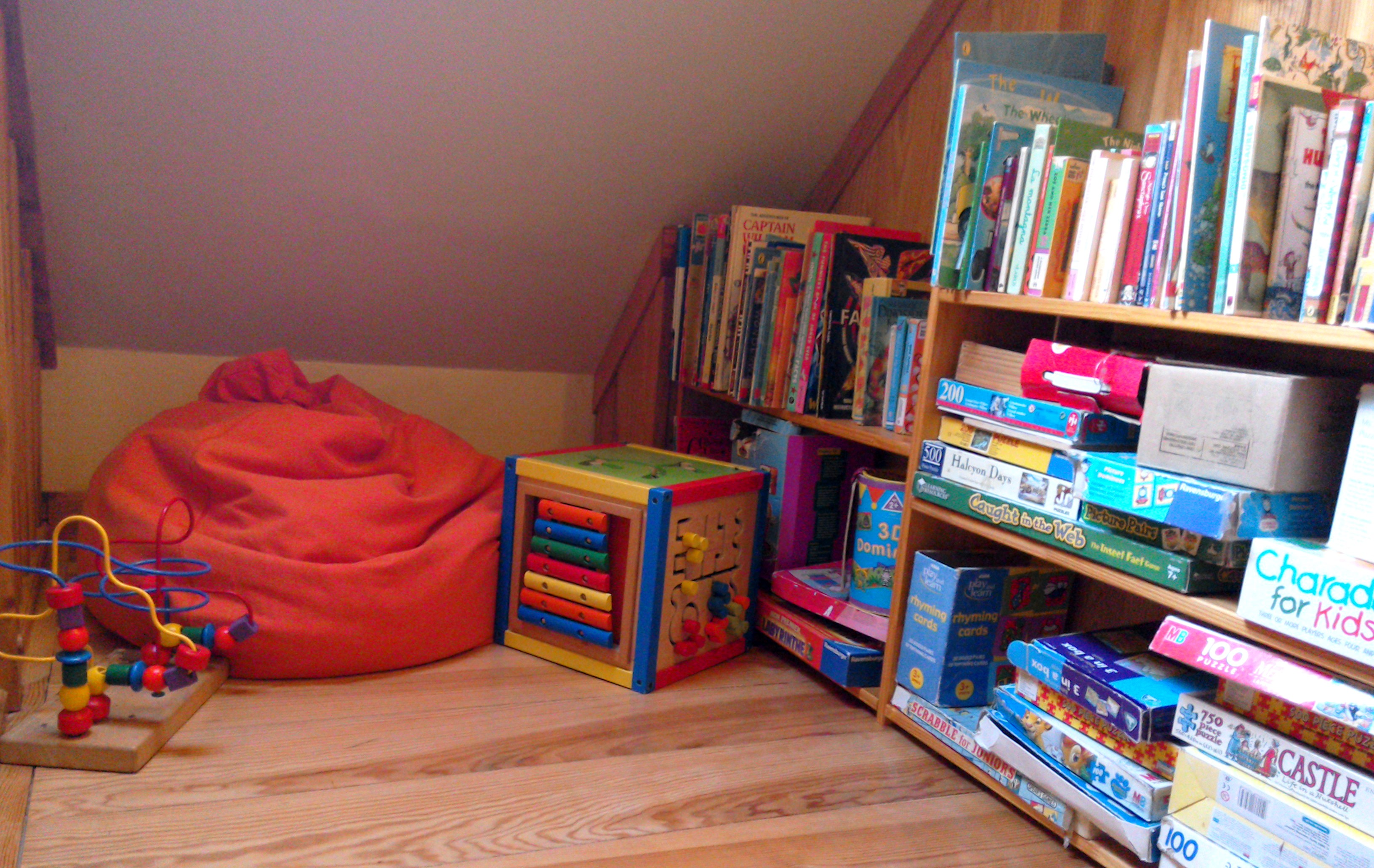 Toy and book corner in Eco-Gites of Lenault, Normandy