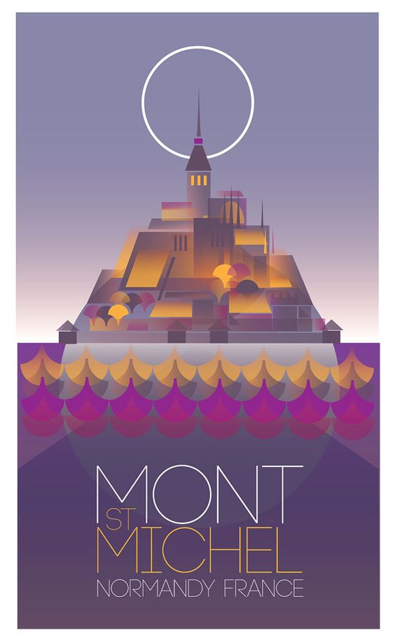 Vintage poster of Mont St Michel, Normandy