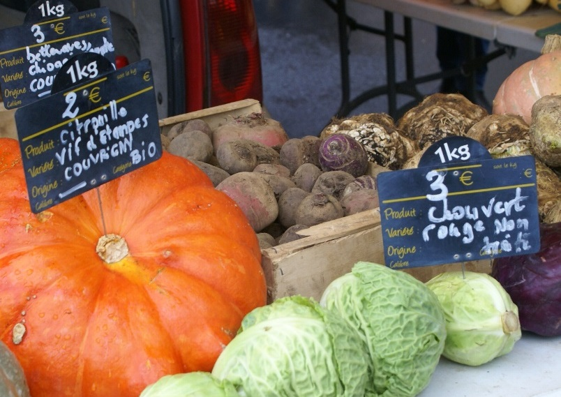 Organic market stall in Normandy