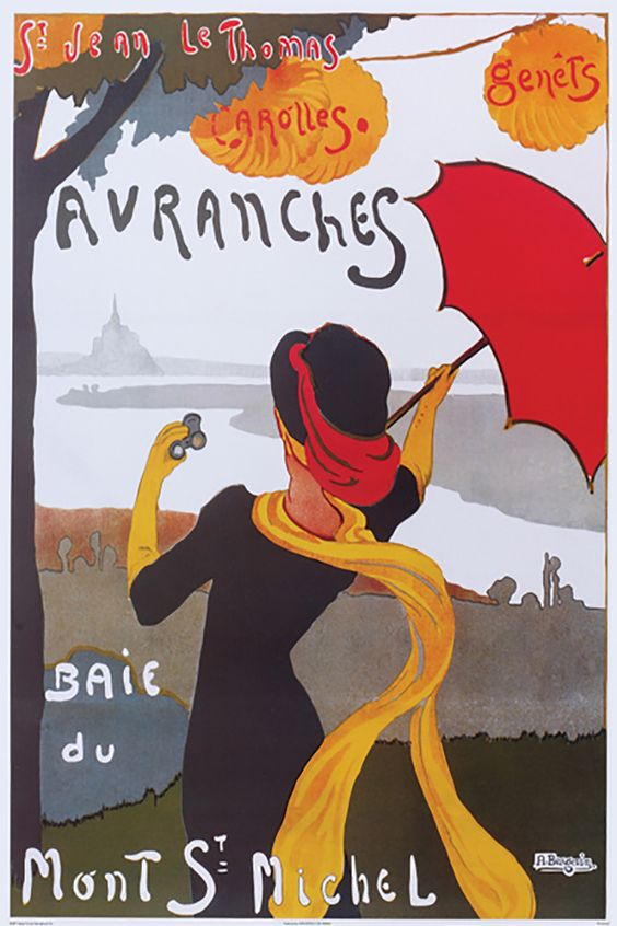 Vintage poster of Arromanches and Mont St Michel in Normandy