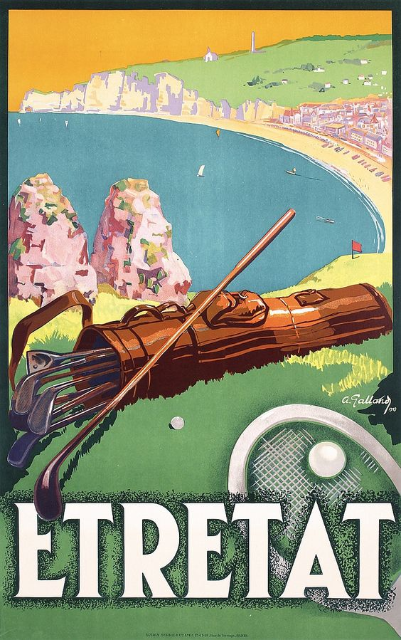 Vintage poster of Etretat, Normandy